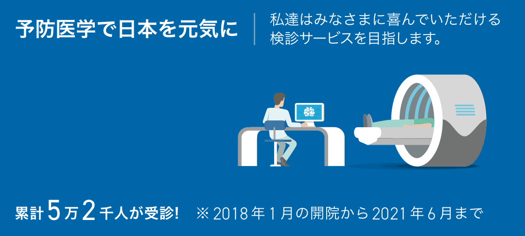 予防医学で日本を元気に私たちはみなさまに喜んでいただける検診サービスを目指します。